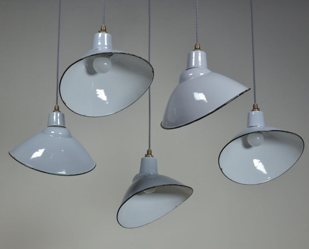 Elliptical Grey Enamel Antique Light Shades
