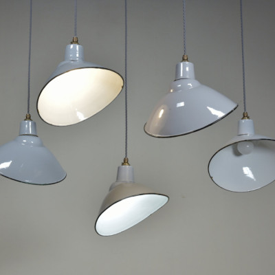 Elliptical Grey Enamel Antique Light Shades