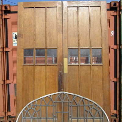 1930's Oak Church Doors and Leaded Panel.