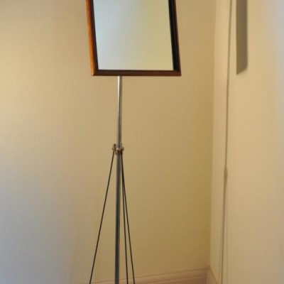 Elegant antique opticians mirror on stand - cheval alternative