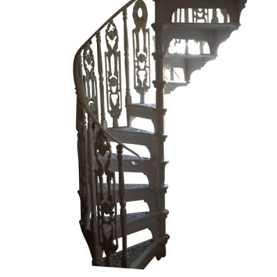 Old Reclaimed White Cast Metal Spiral Staircase & Balcony Rails
