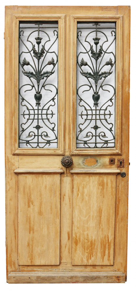 For Sale Late 19th Century French Painted Pine Front Door With Cast