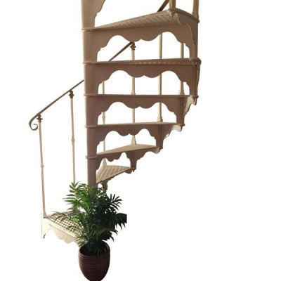 White Reclaimed Cast Iron Spiral Staircase With Large Curved Balcony