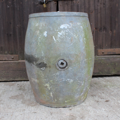 Early galvanised oil barrel