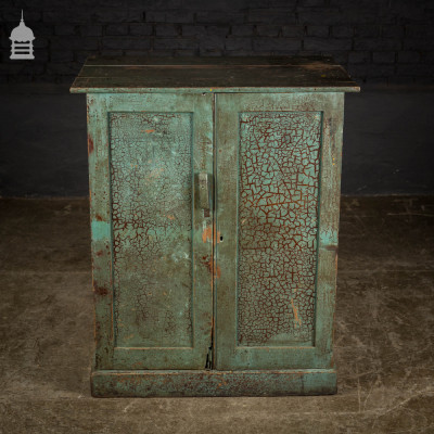 19th C Industrial Plans Cupboard with Crazed Grey Paint Finish