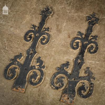 Pair of 19th C Decorative Cast Iron Ecclesiastical Church Hinges