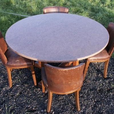 antique oak + granite circular table