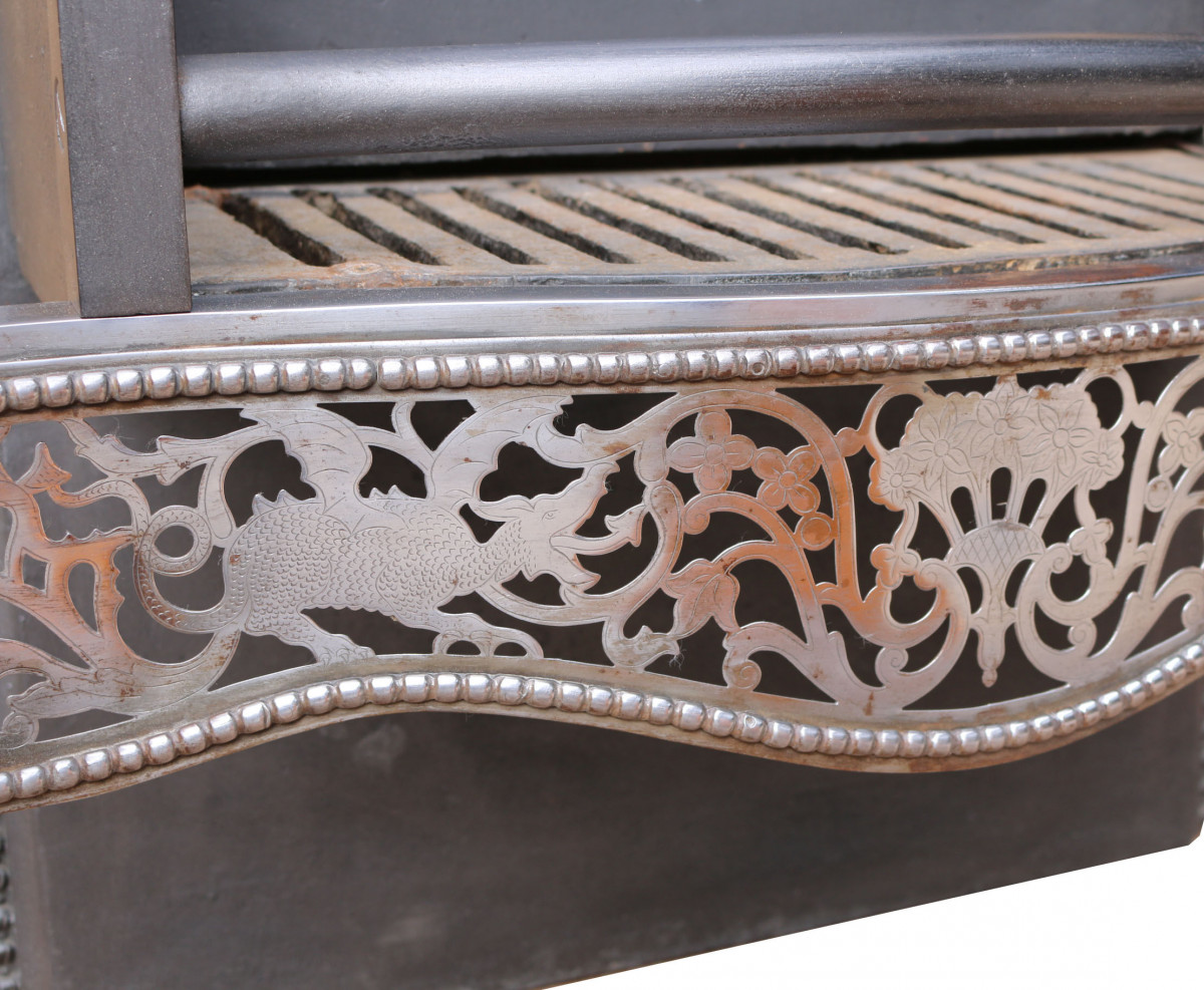 Late 19th Century Polished Steel Fire Grate