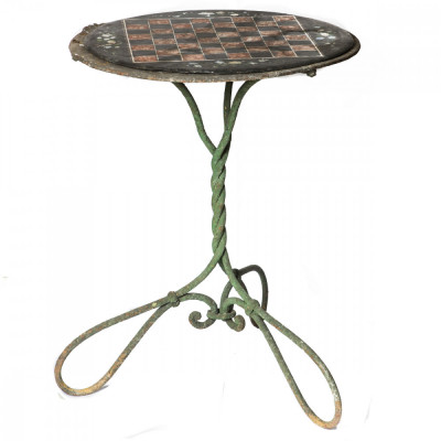 Wrought Iron Garden Table with Slate Top Chessboard
