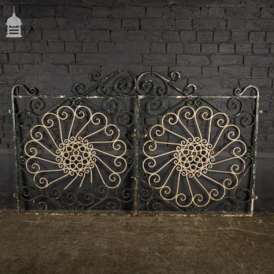 Pair of Reclaimed Steel Garden Gates with Scroll Detail