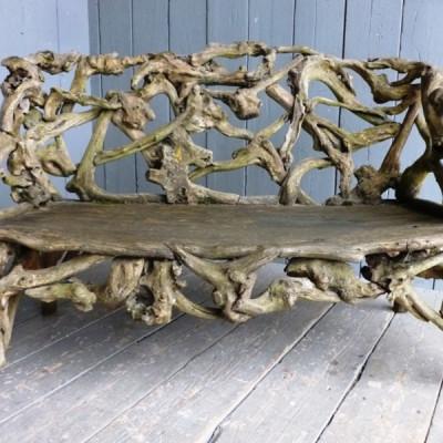 Antique Rustic Wood Seat