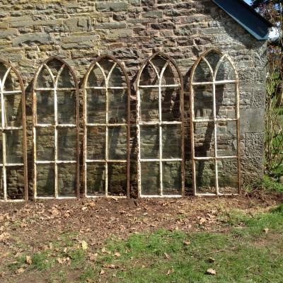 Set 5 Victorian Gothic Arch Top Cast Iron Windows