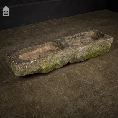 18th C Large Carved Stone Double Trough Planter