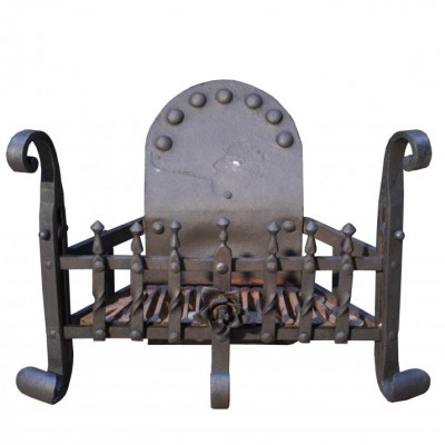 An early 20thC wrought iron firegrate