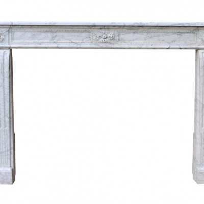 Early 19th Century Louis Xvi Carrara Marble Fire Surround