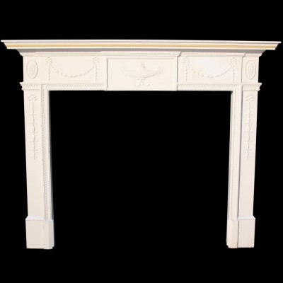 A mid 20thC painted pine and gesso fire surround