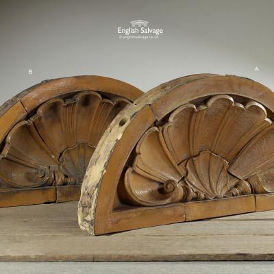 Salvaged Glazed Terracotta Conch Surmount