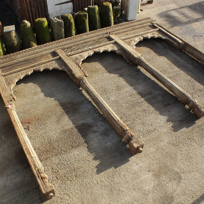 Hand Carved Teak Wooden Triple Arch Set