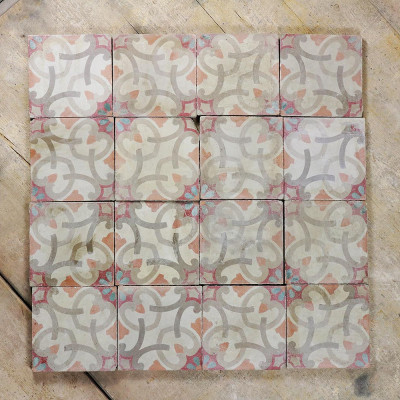 Reclaimed Encaustic Cement Colourful Geometric Flower Tiles