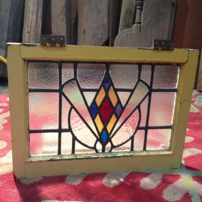 Reclaimed Leaded Stained Glass Window Panel c/w Window Frame Original 022