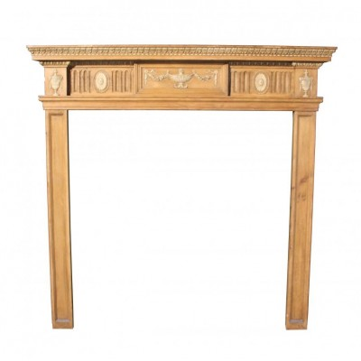 An Edwardian Adams style pine and Gesso fire surround