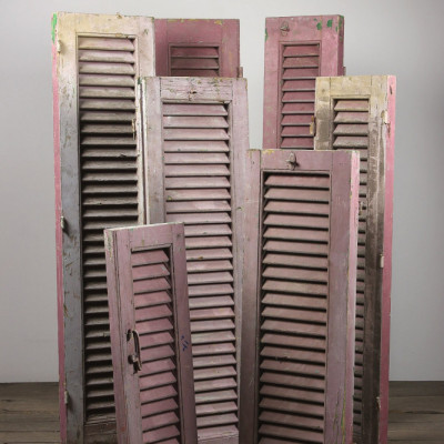 Salvaged Purple Painted Louvre Shutters