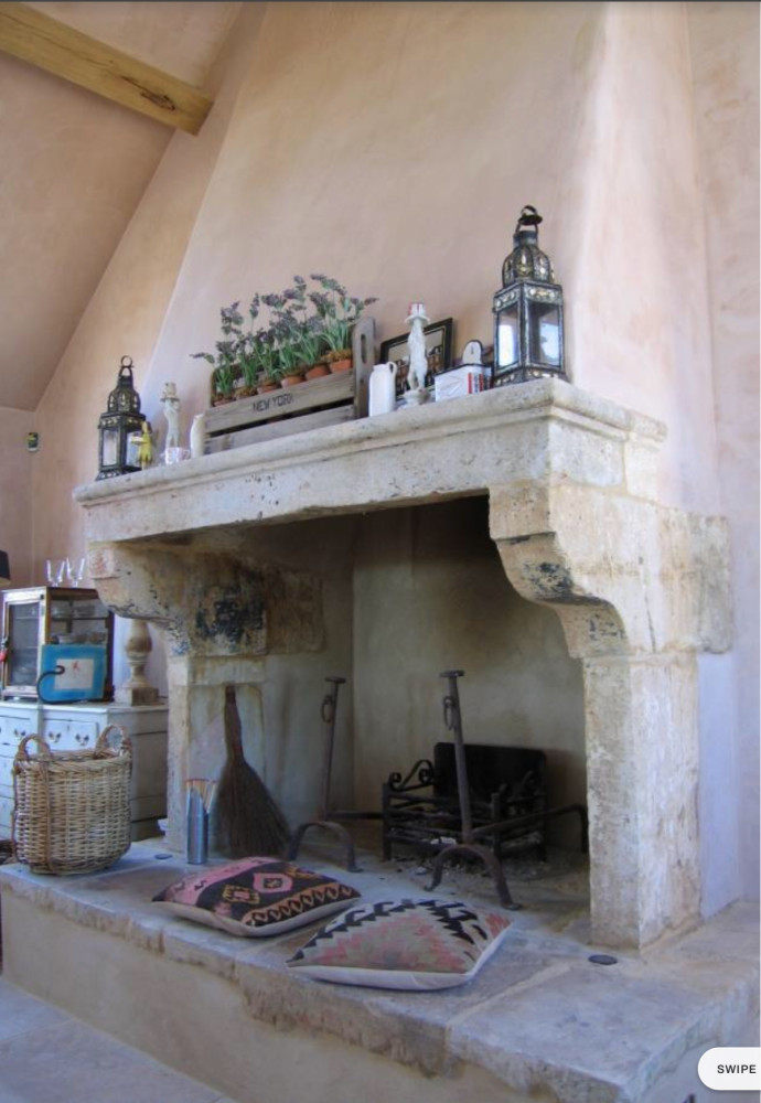 Antique French Stone Fireplace From Saint Emilion