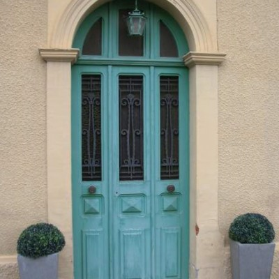 Antique French exterior pine double doors and frame