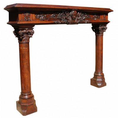 Impressive 19th Century French Renaissance Carved Oak Fire Surround