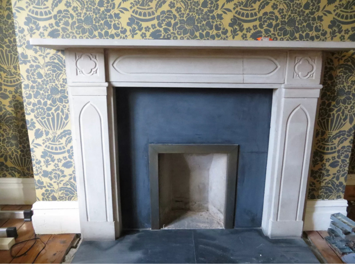 Antique English Stone Gothic Revival Fireplace