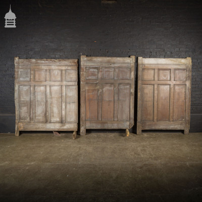 Set of 3 19th C Moulded Oak Raised and Fielded Panels Panelling