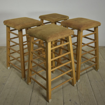 Vintage Leather Topped Gymn / Bar Stools x 4