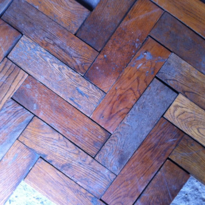 Reclaimed french oak heringbone parquet flooring