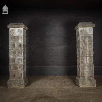 Large 18th C Stone Block Driveway Gate Posts Piers