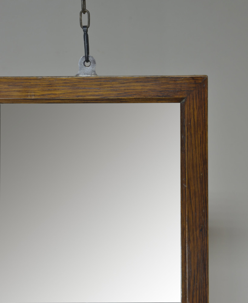 Large Antique Oak Shop / Tailors Mirror
