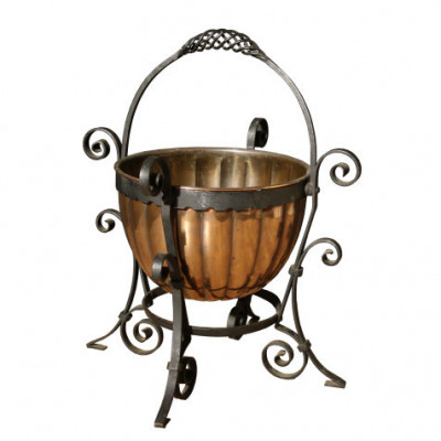 Arts And Crafts Copper And Wrought Iron Coal Bucket