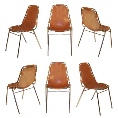 Charlotte Perriand Les Arcs Stacking Chairs x 6. c1970.