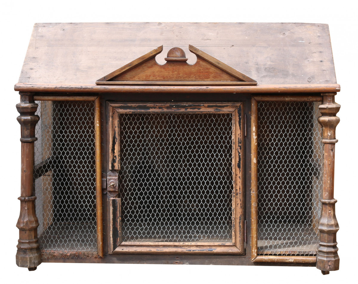 An Unusual Antique Pine And Oak Bird Cage