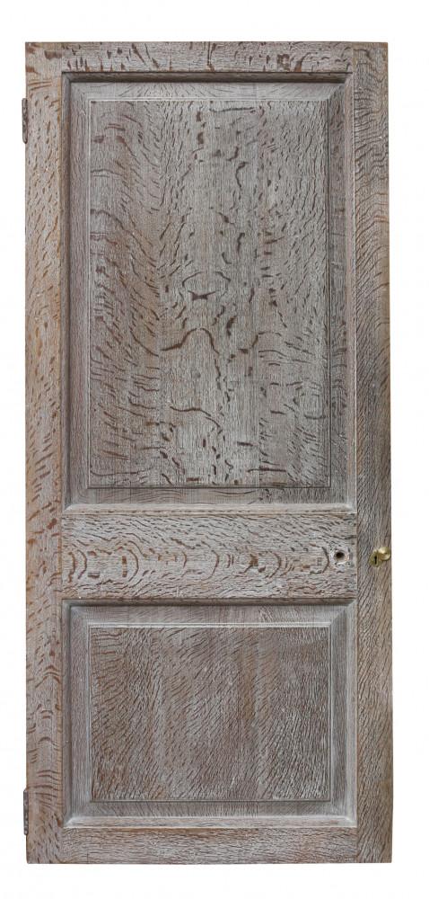 Set Of Three Limed Oak Two Panel Interior Doors Circa 1920