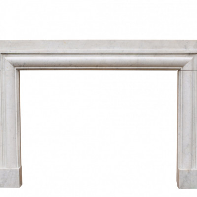 Art Deco 1920s Bolection Carrara Marble Fireplace