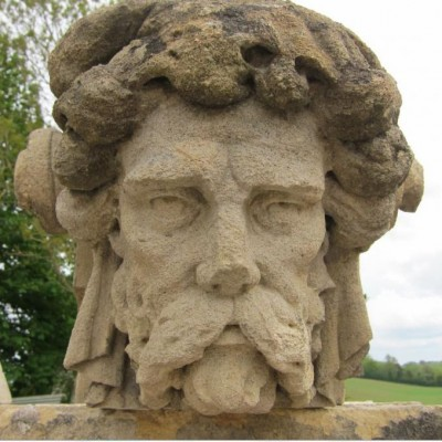 Two Antique Bathstone Masks - Good Fountain Potential