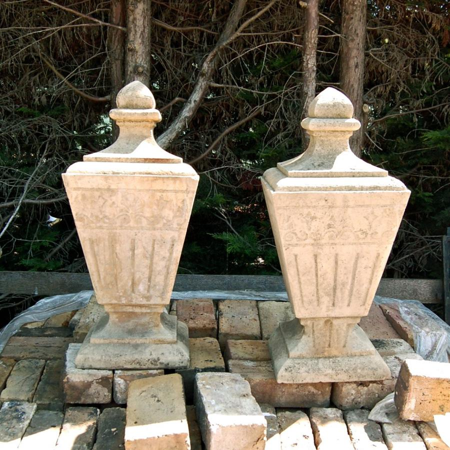 Reclaimed Carved Reconstituted Stone Tapered Finials