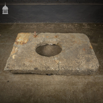 16th C Weathered Yorkstone Well Cover Top with One Clean Break