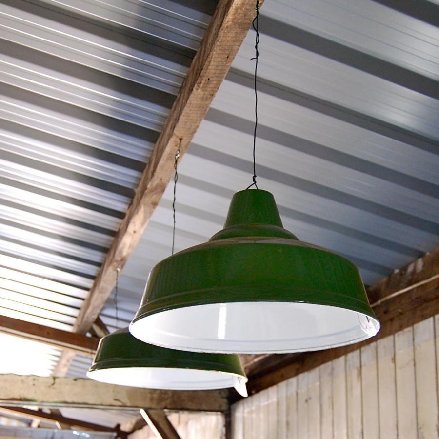Vintage Green Enamel Factory Light Shade
