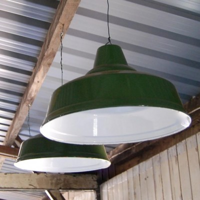 Vintage Green Enamel Factory Light Shade