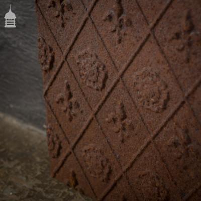 19th C Decorative Cast Iron Fireside Back with Tudor Rose & Fleur De Lis Detail