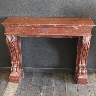 Cheminee marbre rouge, style Empire - French red marble mantel