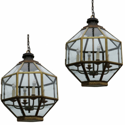 Pair Of Large Brass Hanging Lanterns