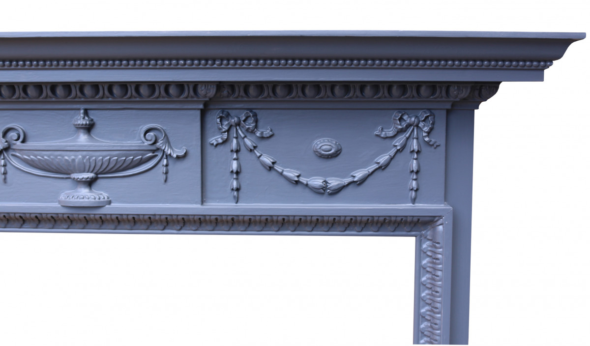 Pair Of Mid 20th Century Carved Painted Pine Fire Surrounds