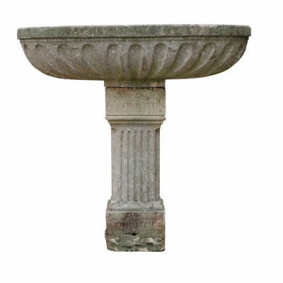 Antique Oval Limestone Trough With Fluted Sides Standing On A Pedestal